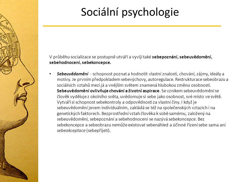 Sociální psychologie V průběhu socializace se postupně utváří a vyvíjí také sebepoznání, sebeuvědomění, sebehodnocení, sebekoncepce.