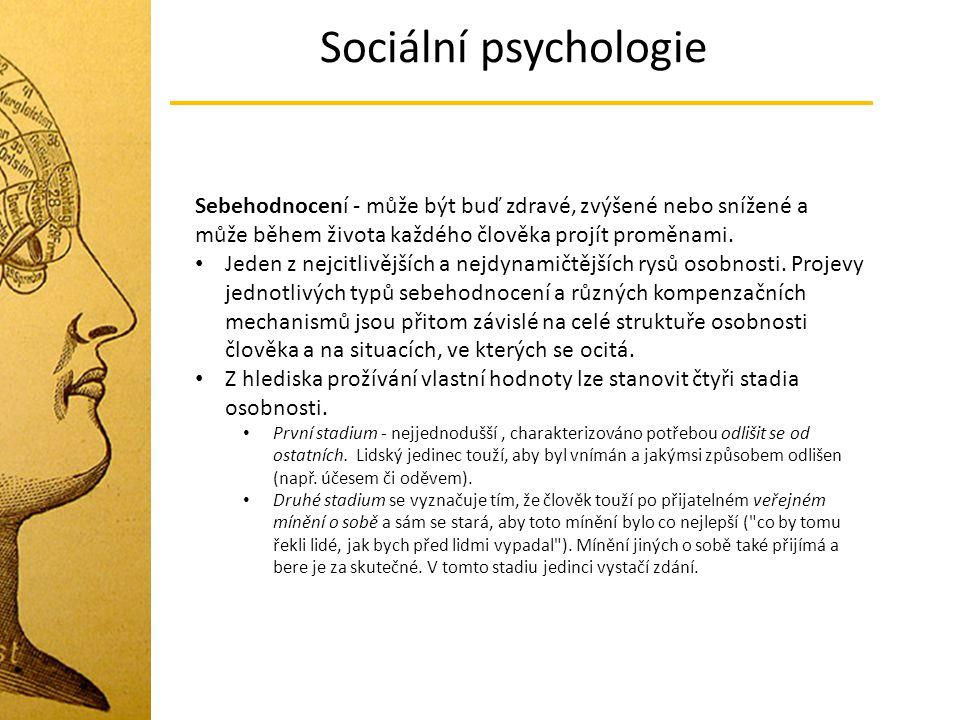 Sociální psychologie Sebehodnocení - může být buď zdravé, zvýšené nebo snížené a může během života každého člověka projít proměnami.