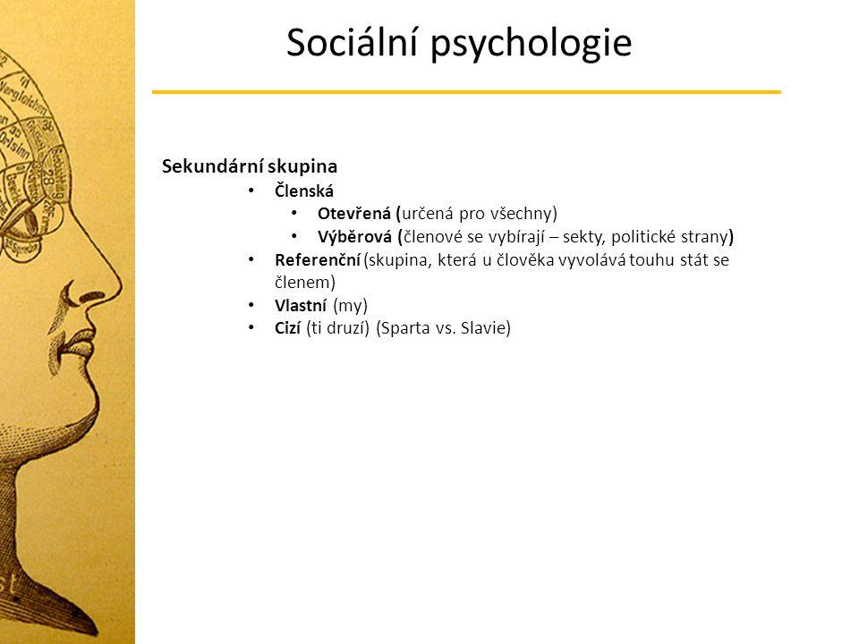 Sociální psychologie Sekundární skupina Členská
