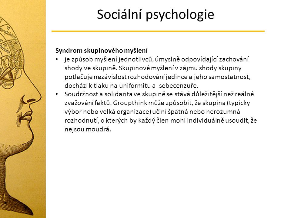 Sociální psychologie Syndrom skupinového myšlení