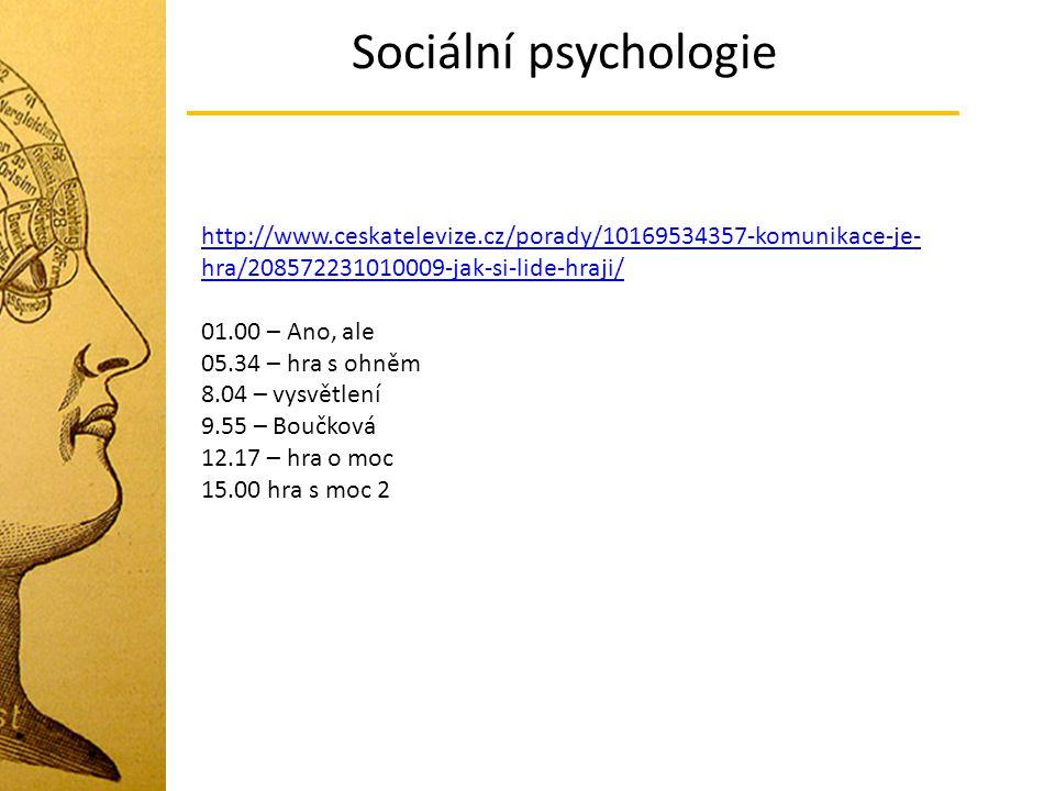Sociální psychologie http://www.ceskatelevize.cz/porady/10169534357-komunikace-je-hra/208572231010009-jak-si-lide-hraji/