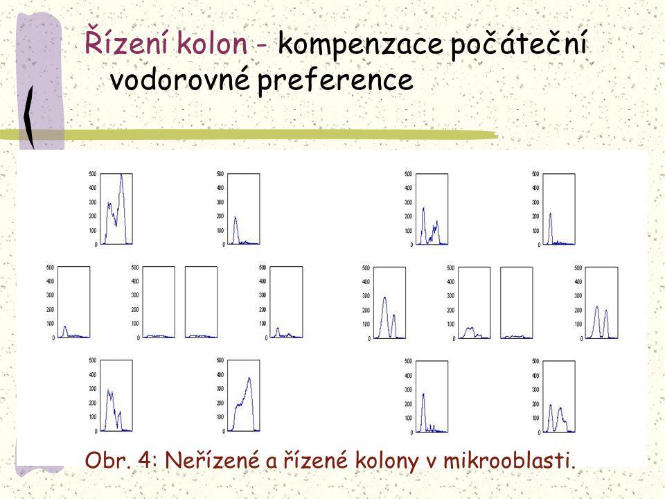 Řízení kolon - kompenzace počáteční vodorovné preference