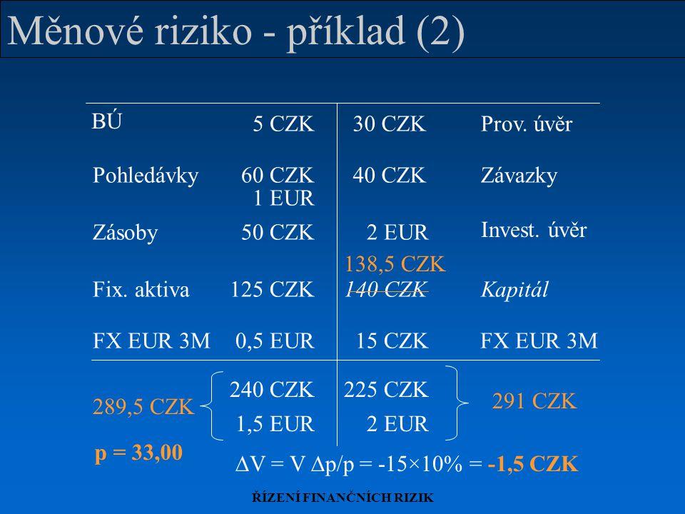 Měnové riziko - příklad (2)