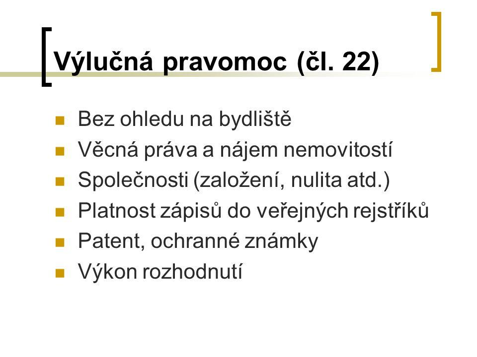 Výlučná pravomoc (čl. 22) Bez ohledu na bydliště