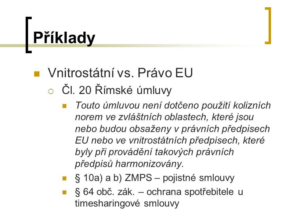 Příklady Vnitrostátní vs. Právo EU Čl. 20 Římské úmluvy