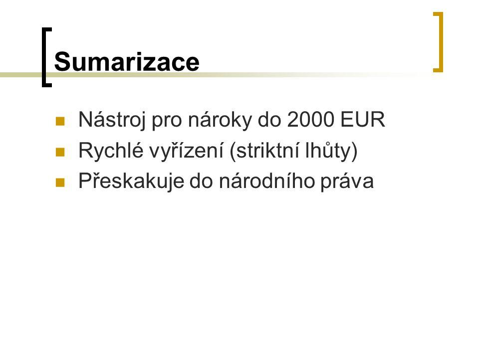 Sumarizace Nástroj pro nároky do 2000 EUR