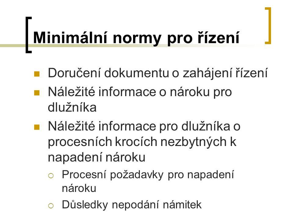 Minimální normy pro řízení