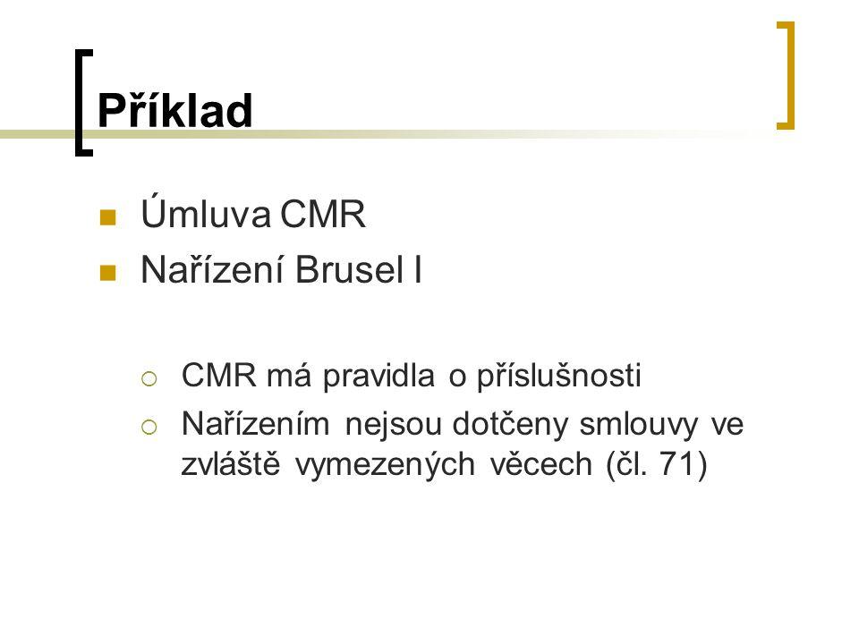 Příklad Úmluva CMR Nařízení Brusel I CMR má pravidla o příslušnosti