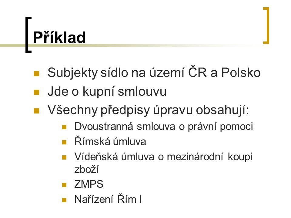 Příklad Subjekty sídlo na území ČR a Polsko Jde o kupní smlouvu