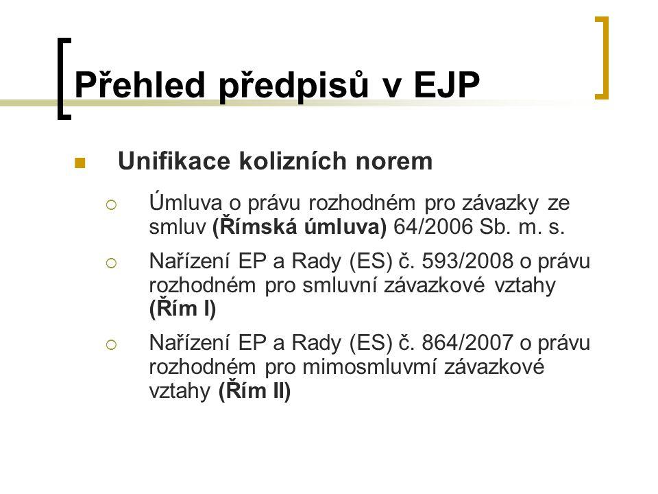 Přehled předpisů v EJP Unifikace kolizních norem