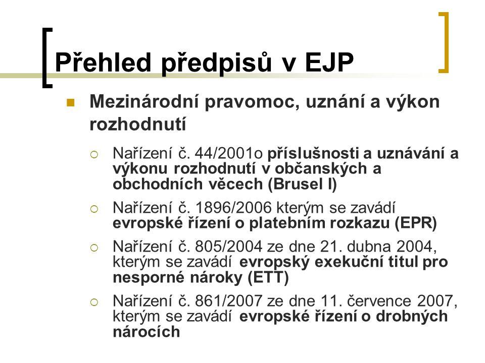 Přehled předpisů v EJP Mezinárodní pravomoc, uznání a výkon rozhodnutí