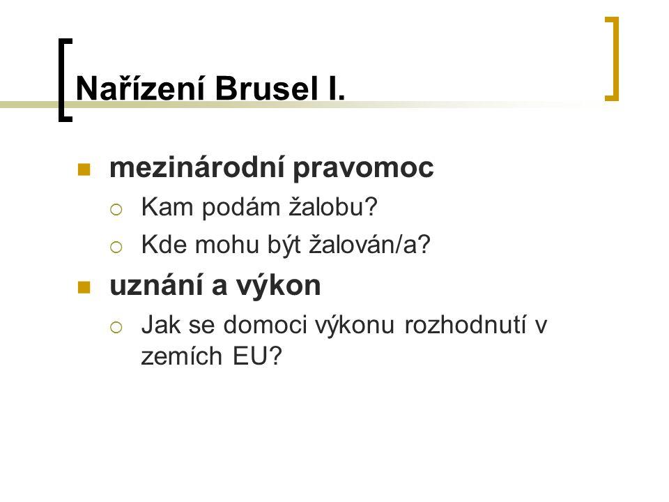 Nařízení Brusel I. mezinárodní pravomoc uznání a výkon