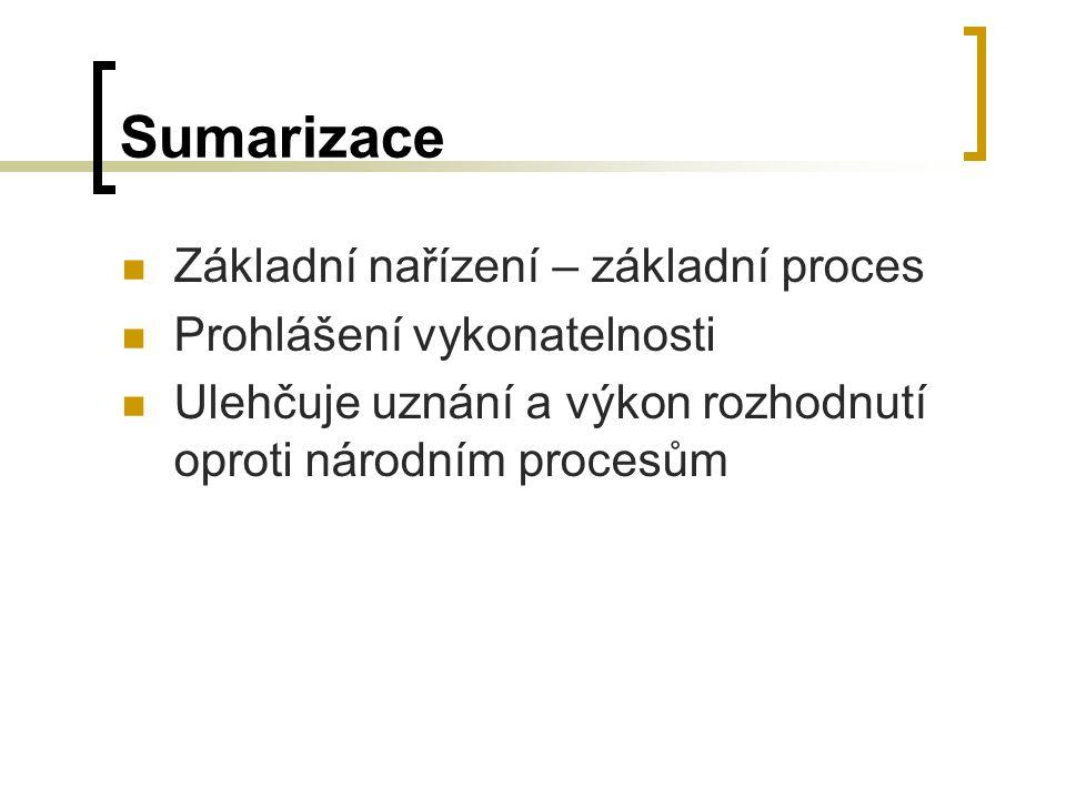 Sumarizace Základní nařízení – základní proces