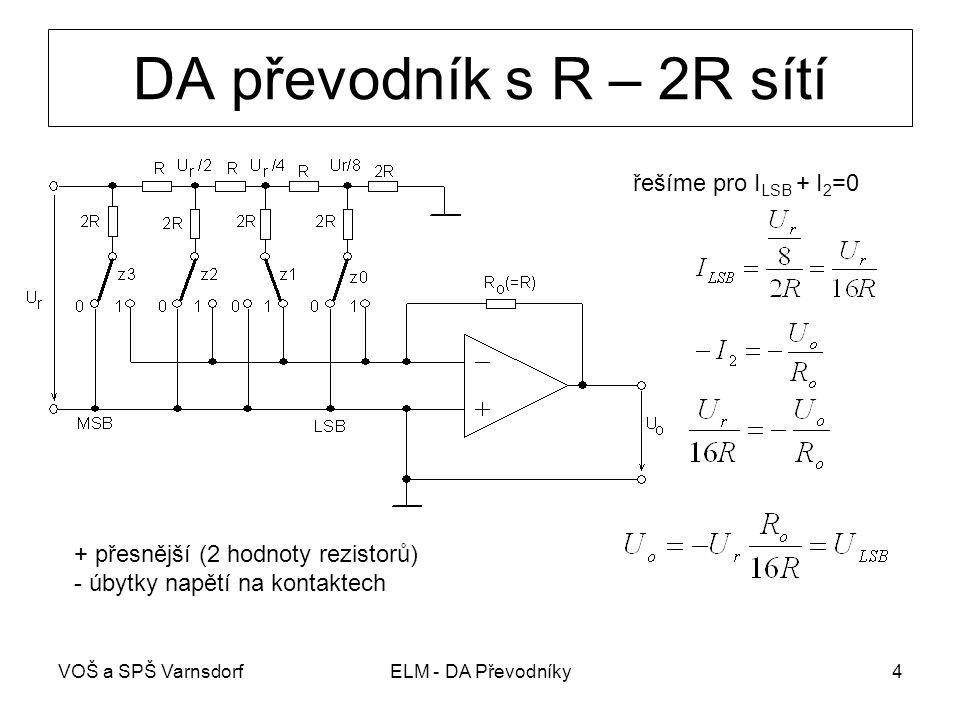 DA převodník s R – 2R sítí řešíme pro ILSB + I2=0
