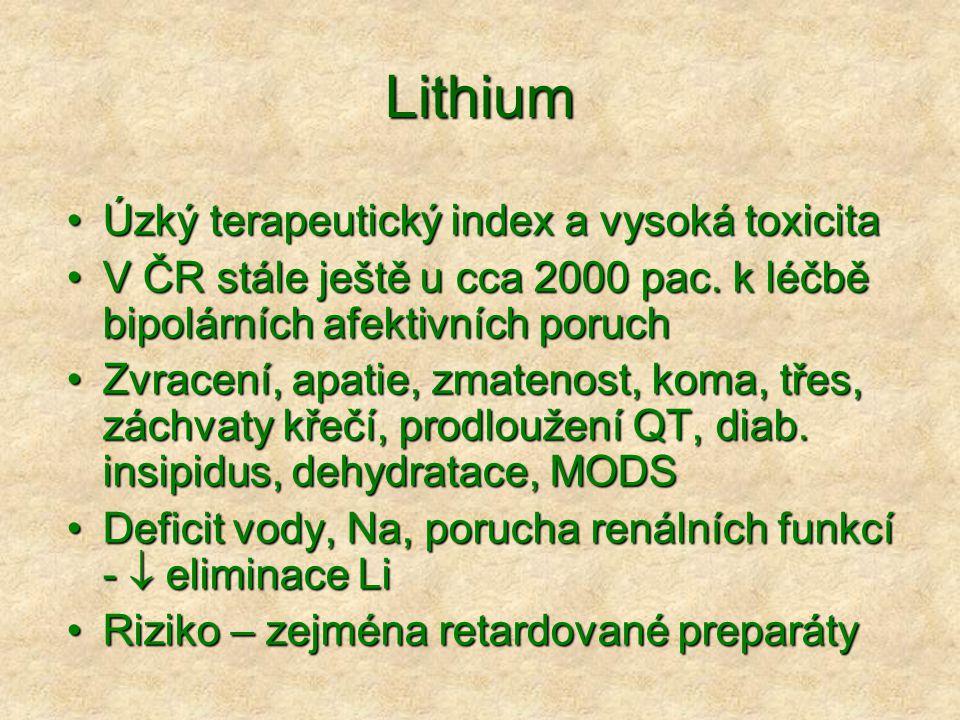 Lithium Úzký terapeutický index a vysoká toxicita