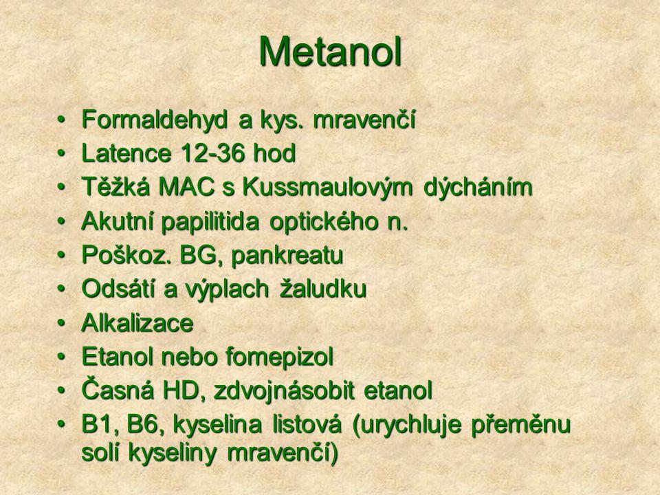 Metanol Formaldehyd a kys. mravenčí Latence 12-36 hod