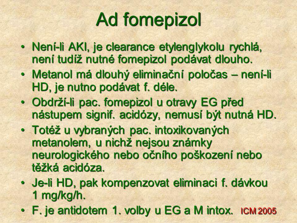 Ad fomepizol Není-li AKI, je clearance etylenglykolu rychlá, není tudíž nutné fomepizol podávat dlouho.