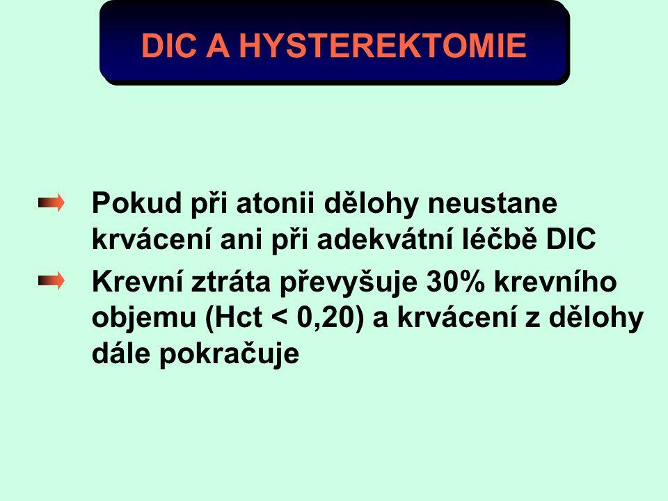DIC A HYSTEREKTOMIE Pokud při atonii dělohy neustane krvácení ani při adekvátní léčbě DIC.