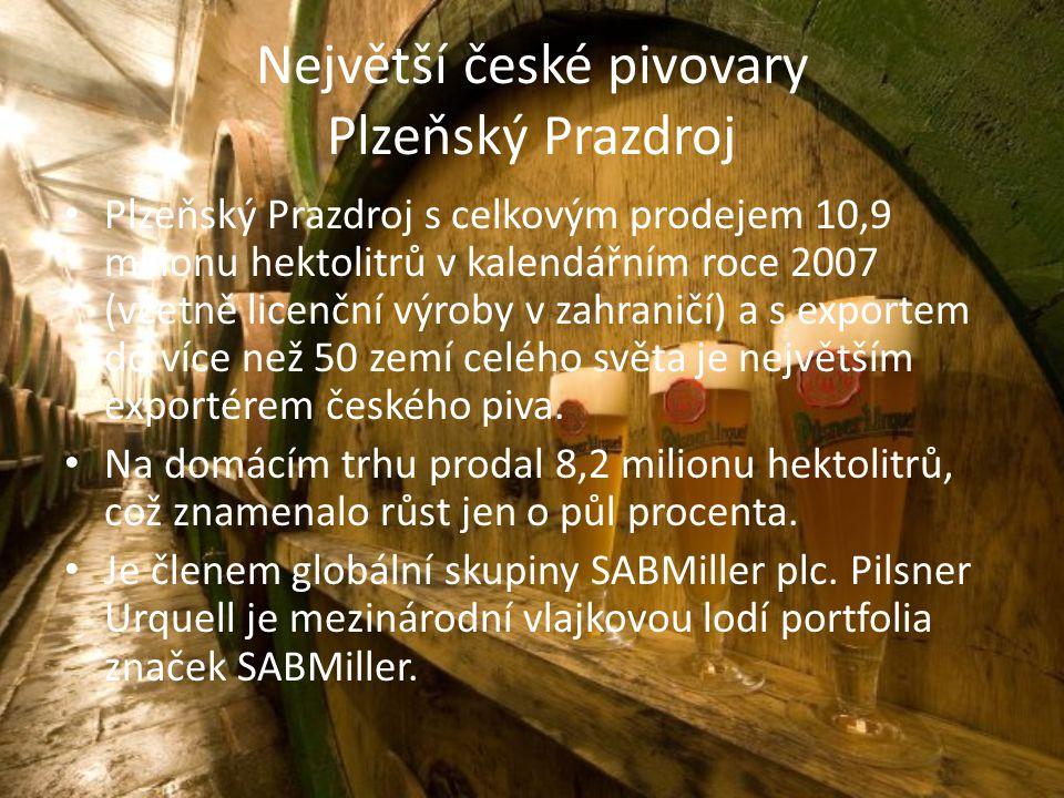 Největší české pivovary Plzeňský Prazdroj