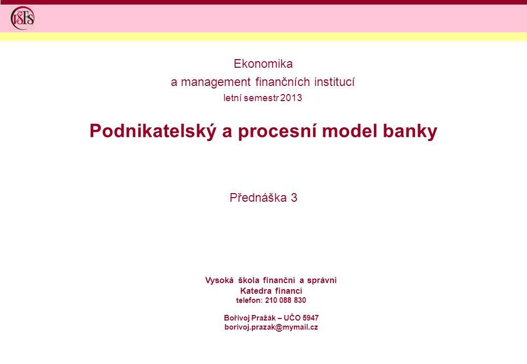 Podnikatelský a procesní model banky