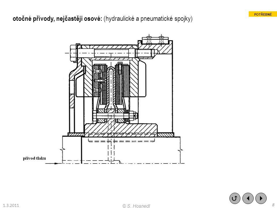 otočné přívody, nejčastěji osové: (hydraulické a pneumatické spojky)