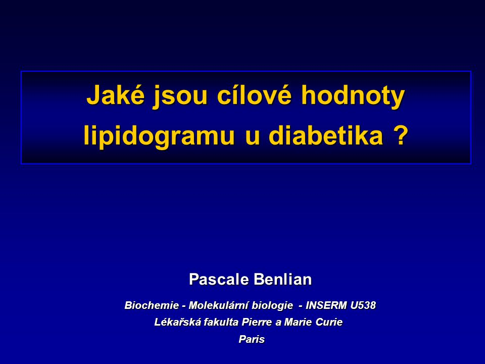 Jaké jsou cílové hodnoty lipidogramu u diabetika
