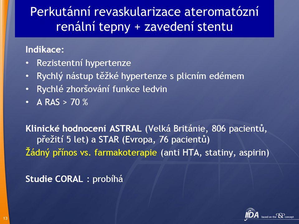 Perkutánní revaskularizace ateromatózní renální tepny + zavedení stentu