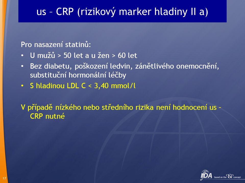 us – CRP (rizikový marker hladiny II a)