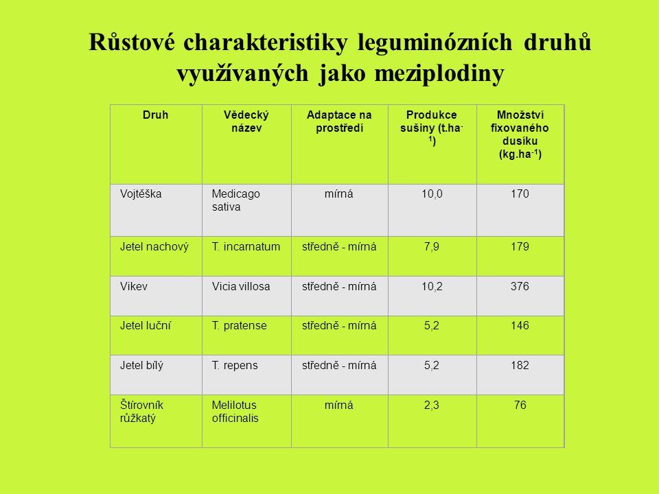 Růstové charakteristiky leguminózních druhů využívaných jako meziplodiny