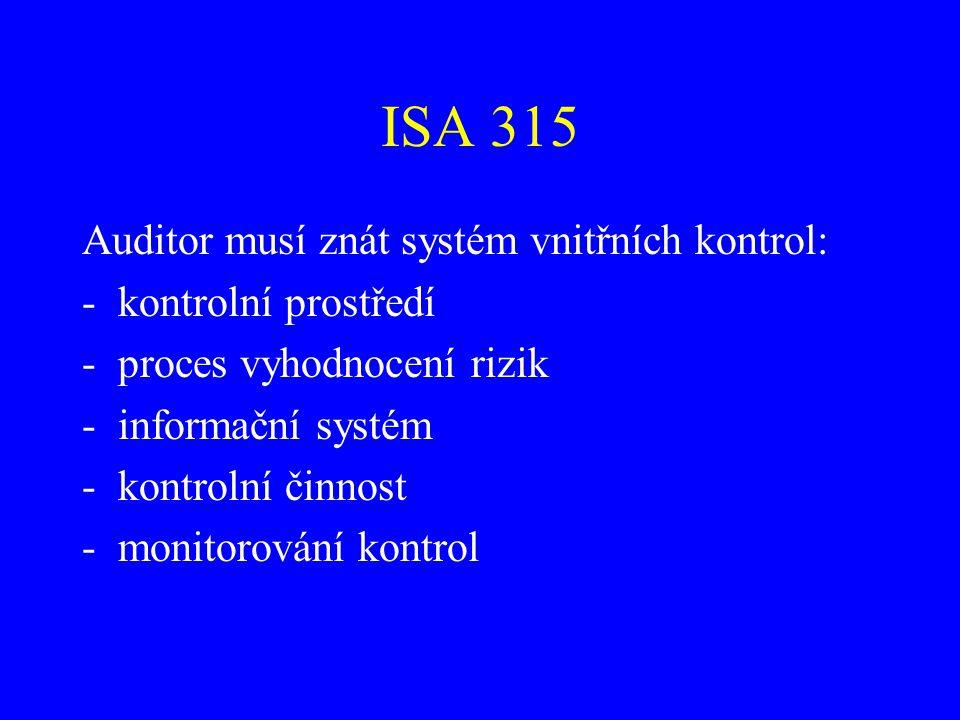 ISA 315 Auditor musí znát systém vnitřních kontrol: