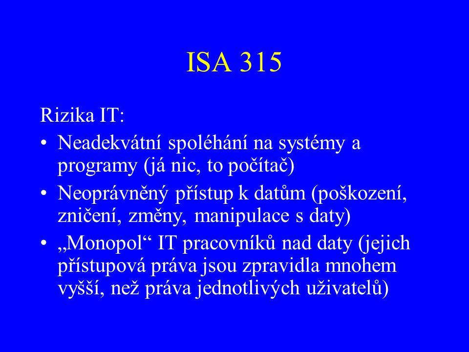 ISA 315 Rizika IT: Neadekvátní spoléhání na systémy a programy (já nic, to počítač)