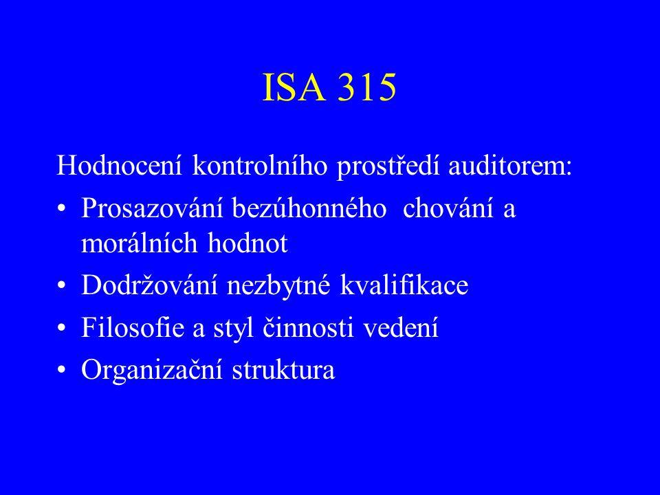 ISA 315 Hodnocení kontrolního prostředí auditorem: