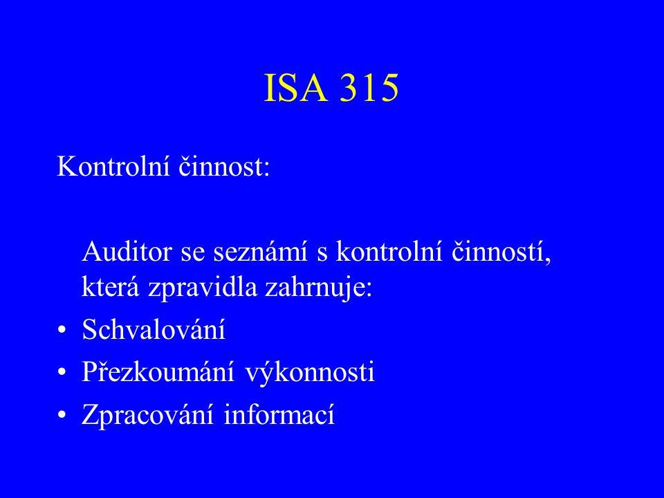 ISA 315 Kontrolní činnost: