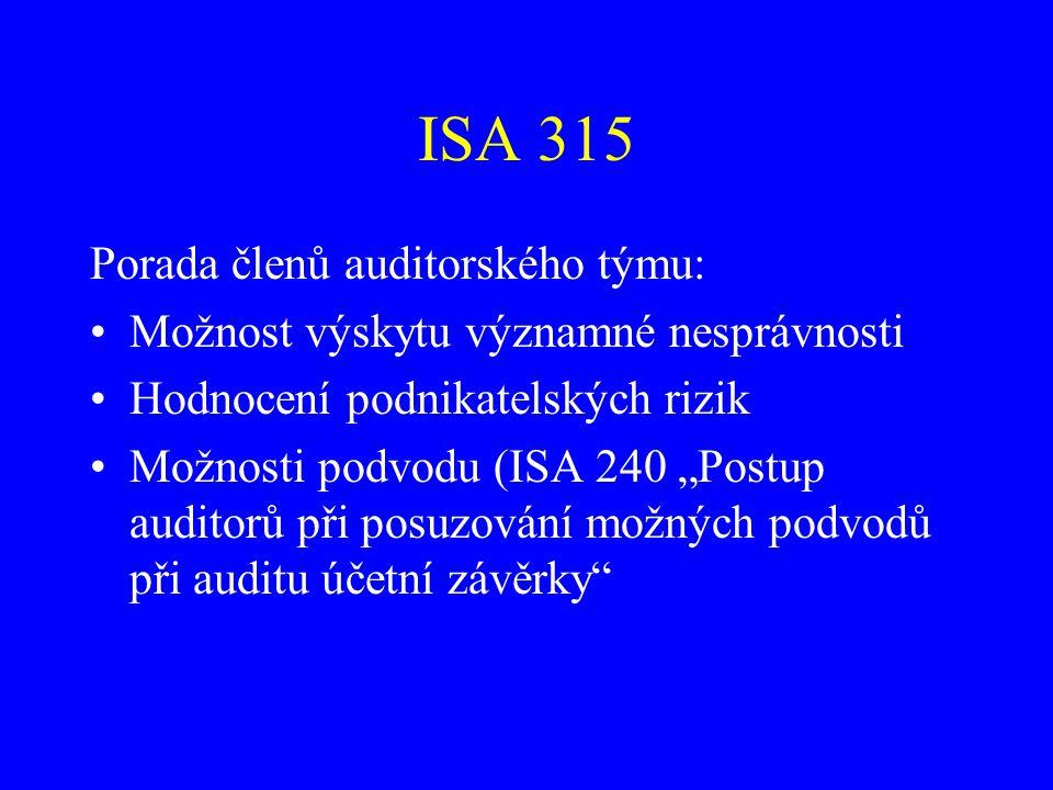 ISA 315 Porada členů auditorského týmu: