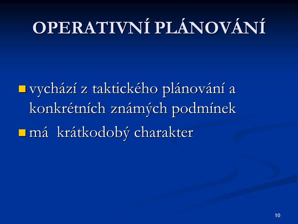 OPERATIVNÍ PLÁNOVÁNÍ vychází z taktického plánování a konkrétních známých podmínek.