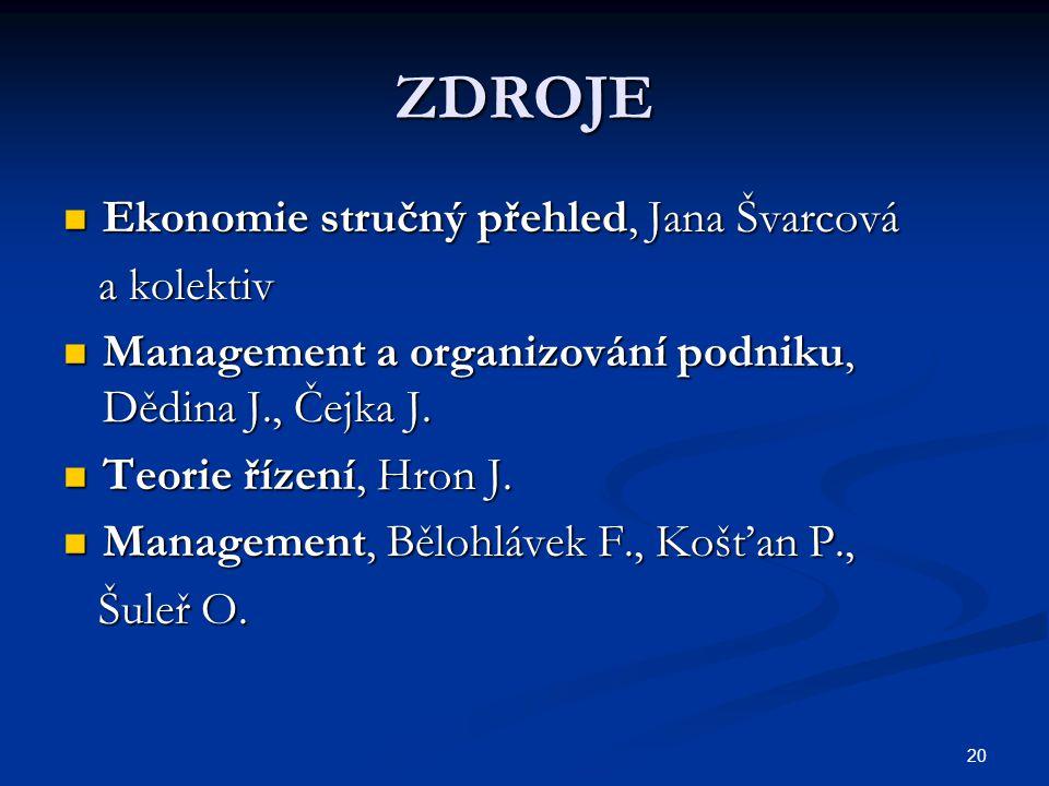 ZDROJE Ekonomie stručný přehled, Jana Švarcová a kolektiv