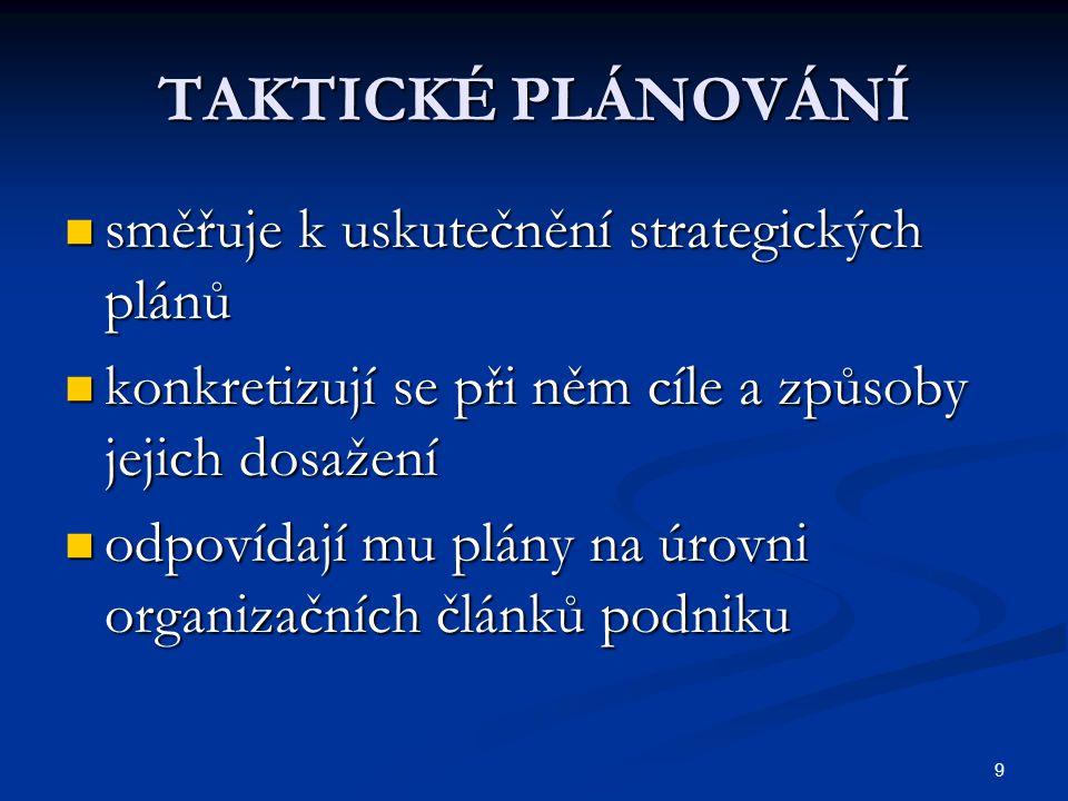 TAKTICKÉ PLÁNOVÁNÍ směřuje k uskutečnění strategických plánů