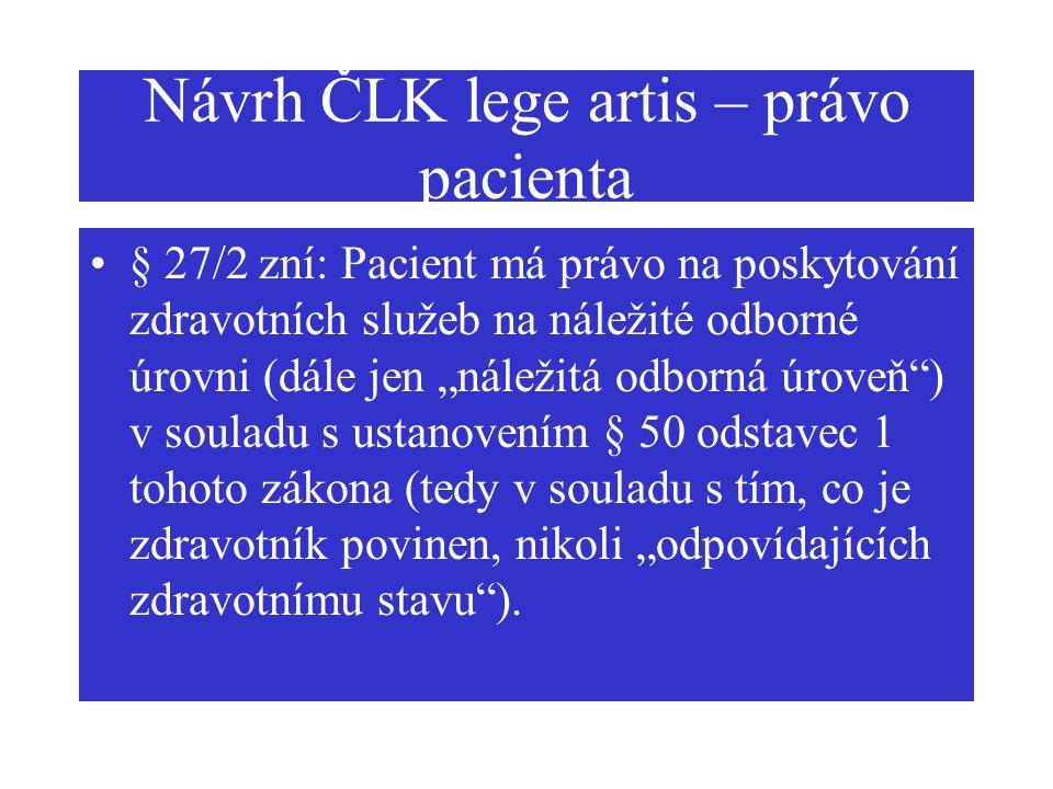 Návrh ČLK lege artis – právo pacienta