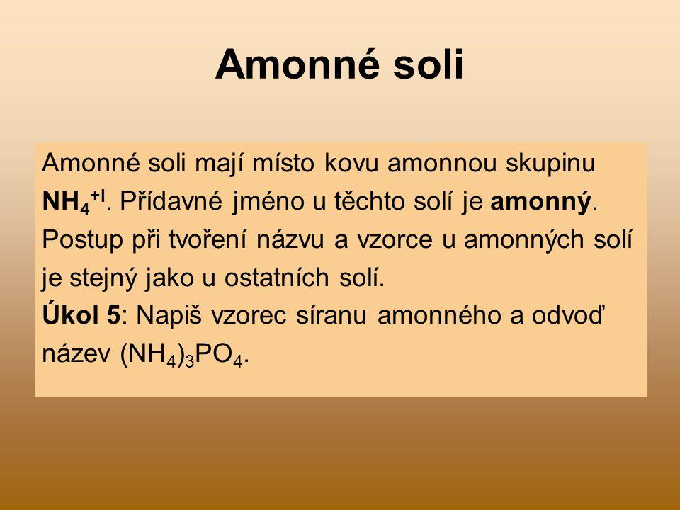 Amonné soli Amonné soli mají místo kovu amonnou skupinu