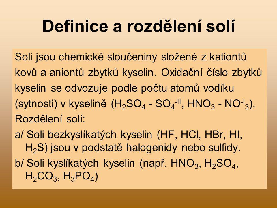 Definice a rozdělení solí