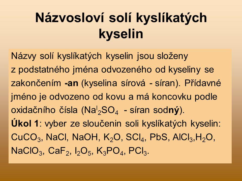 Názvosloví solí kyslíkatých kyselin
