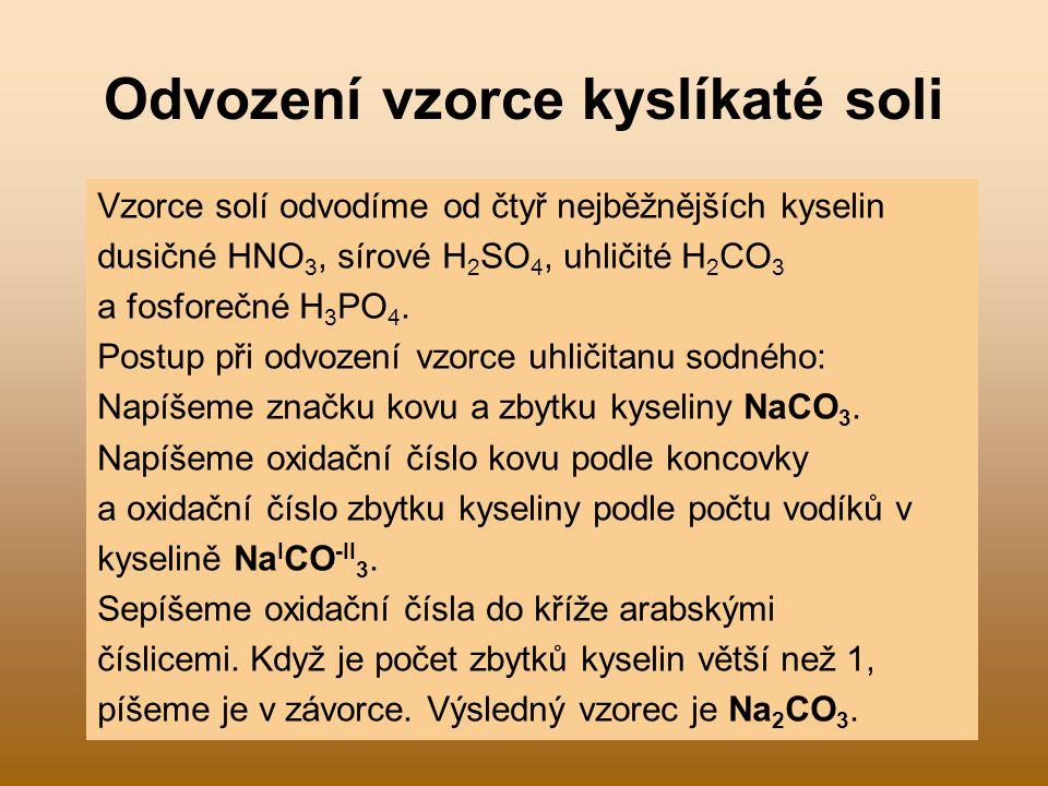 Odvození vzorce kyslíkaté soli