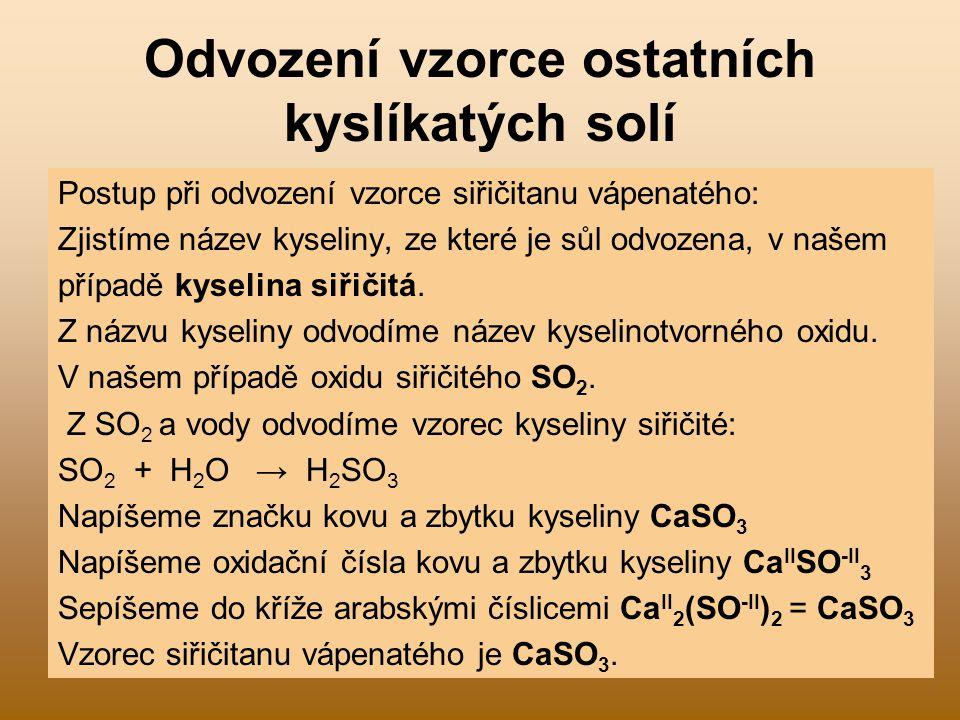 Odvození vzorce ostatních kyslíkatých solí