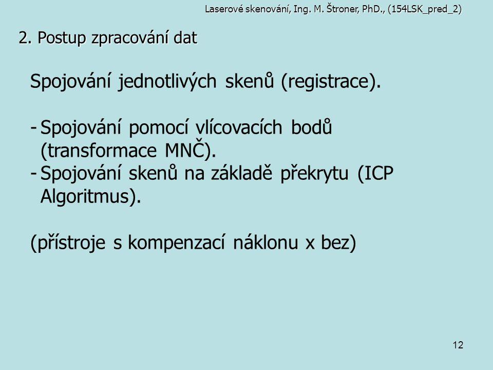 Spojování jednotlivých skenů (registrace).