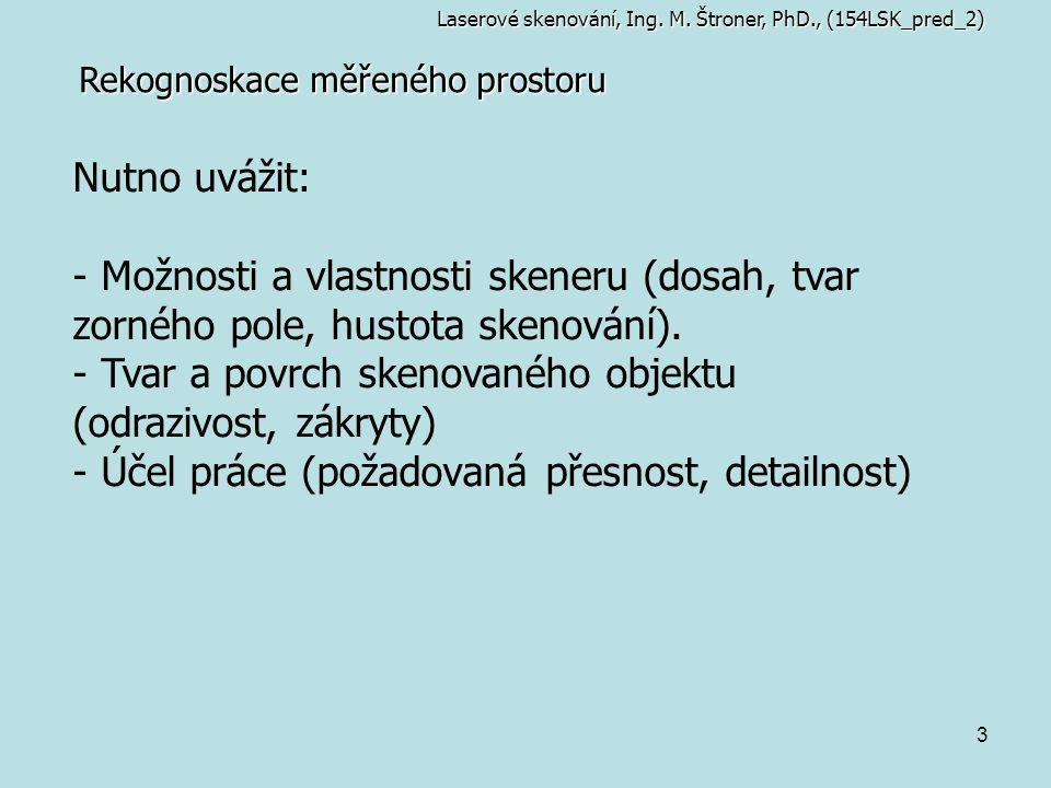 Tvar a povrch skenovaného objektu (odrazivost, zákryty)