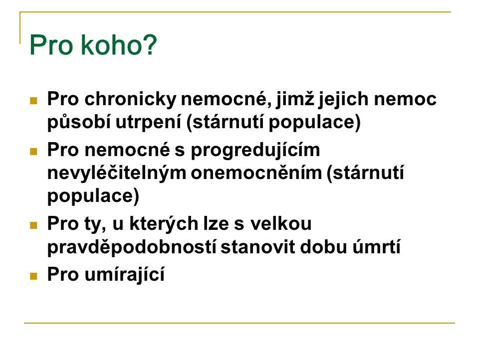 Pro koho Pro chronicky nemocné, jimž jejich nemoc působí utrpení (stárnutí populace)