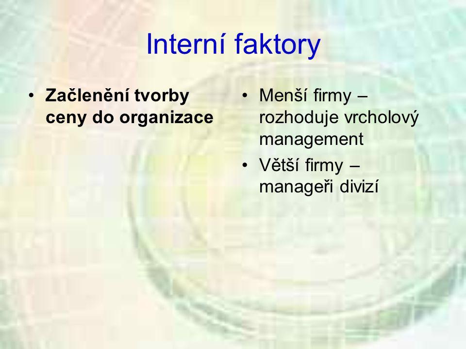 Interní faktory Začlenění tvorby ceny do organizace