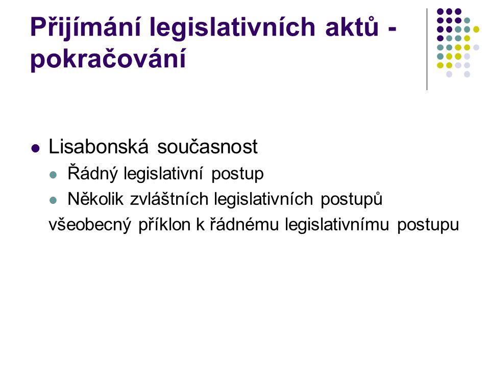Přijímání legislativních aktů - pokračování