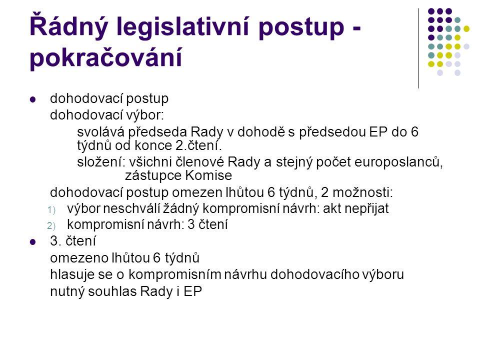 Řádný legislativní postup - pokračování