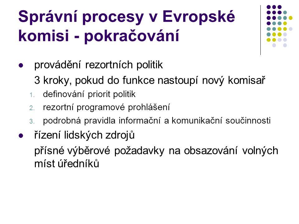 Správní procesy v Evropské komisi - pokračování